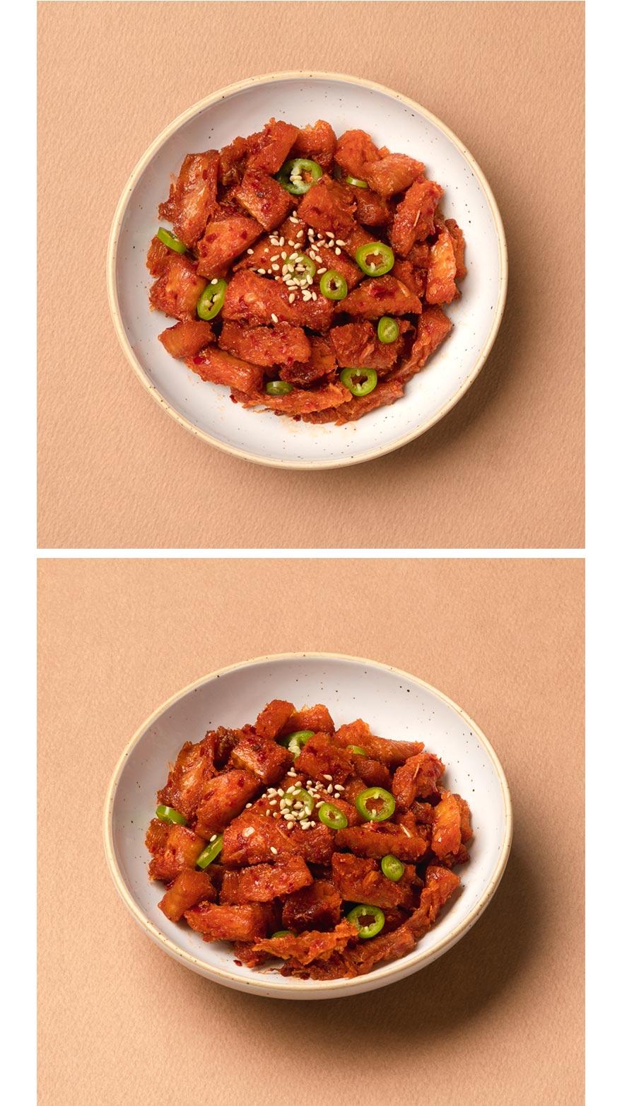 고추장 황태채볶음 쫄깃한 황태채와 알싸한 청양고추가 들어가 입맛을 돋아주는 고추장 황태채볶음이에요. 하얀 쌀밥에 매콤달달한 황태채볶음 하나면 밥 한 공기 뚝딱! 술안주로도 좋아 우리집 인기반찬입니다.