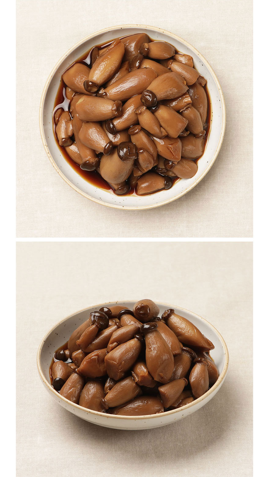 미니새송이버섯조림 쫄깃쫄깃한 식감이 매력 있는 미니새송이버섯조림입니다. 한 입에 쏙 들어오는 크기가 앙증맞고 동글동글 윤기가 흘러 보기에도 먹음직스럽기에 버섯을 잘 먹지 않는 아이들도 좋아하는 반찬 중 하나랍니다. 집반찬연구소 맛의 비법 맛간장과 채소육수로 만들어 짜지 않고 달콤합니다.