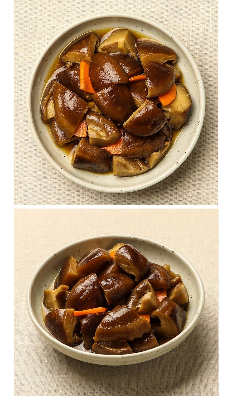 표고버섯조림 표고버섯은 쫄깃쫄깃, 씹는 맛이 일품이죠. 표고버섯은 채소와 조리하면 맛이 더 좋아진다고 합니다. 집반찬연구소 표고버섯조림엔 표고버섯 중 제일가는 국내산 표고버섯과 국산 콩간장, 당근이 들어갔어요. 달콤하고 짭조롬해서 밥 반찬으로 딱이랍니다. 쫄깃한 식감이 그대로 살아있는 표고버섯 조림을 만나보세요.