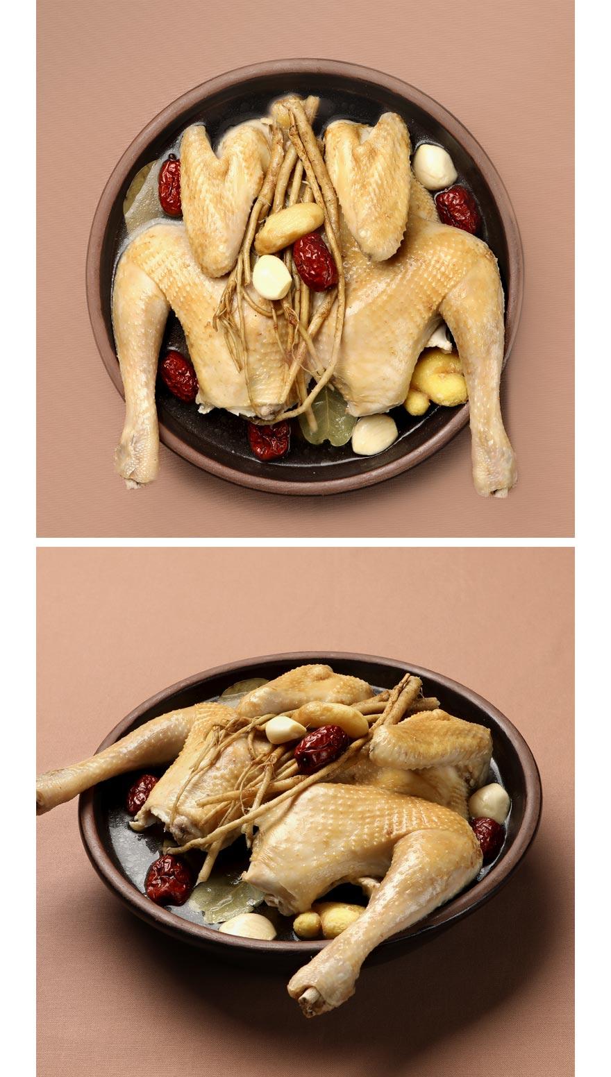 허해진 기를 보해주고 떨어진 체력을 끌어올려주는 대한민국 대표 보양식 황기토종닭이에요. 백숙의 정석 그대로 양념을 하지 않고 뽀얗게 푹 삶아서 준비했습니다. 신선한 국내산 토종닭을, 황기를 가득 넣어 우려낸 국물에 삶아 육질이 쫄깃하고 고소해요. 구수한 국물은 말할 것도 없구요, 고기 한 점에 국물 한 숟가락이면 보약 같은 식사를 즐길 수 있습니다. 작은 재료 하나도 믿을 수 있으니까 부모님께 드리는 특별밥상으로, 아이 반찬으로, 환자 보양식으로 모두 좋아요.