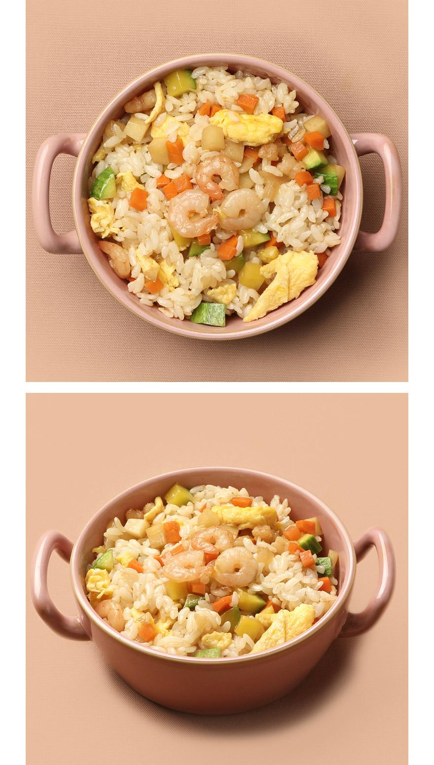 새우 볶음밥 오동통한 새우살이 씹히는 식감이 일품인 새우볶음밥으로 건강한 한 끼 식사 해결해보세요. 통통한 새우살, 부드러운 스크램블 계란, 신선한 국내산 애호박과 양파, 감자 등 정성껏 볶음밥 재료들을 준비했습니다. 특별한 반찬 없이도 볶음밥 재료와 밥을 넣고 볶기만 하면 완성! 기름을 살짝 두른 팬에 햇반 1개 분량의 밥을 넣고 풀어주세요. 준비된 볶음밥 재료를 넣고 1분 가량 볶아주면 됩니다.
