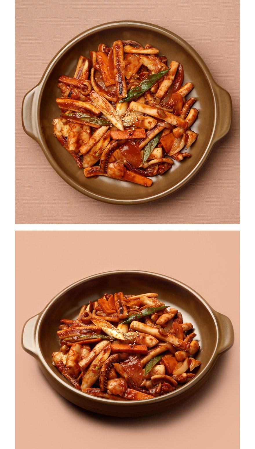 오징어 야채볶음 온 가족이 좋아하는 맛있는 오징어 야채볶음입니다. 쫄깃한 오징어와 야채가 양념과 함께 어우러져 입맛을 돋워줘요. 국내산 오징어, 싱싱한 야채들까지 정성스럽게 준비했습니다. 달궈진 팬에 빠르게 볶아내면 탱글탱글한 오징어볶음이 완성되죠. 오징어 야채볶음 하나만 있어도 다른 반찬이 필요 없답니다. 취향에 따라 매콤한 청양고추나 소면과 함께 즐기세요!