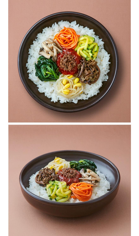 가장 한국적인 음식 비빔밥. 온 가족이 좋아하는 메뉴입니다. 집반찬연구소만의 비결로 맛있게 만든 6종의 나물과 소고기 고추장이면 편하지만 건강한 한끼가 완성됩니다.