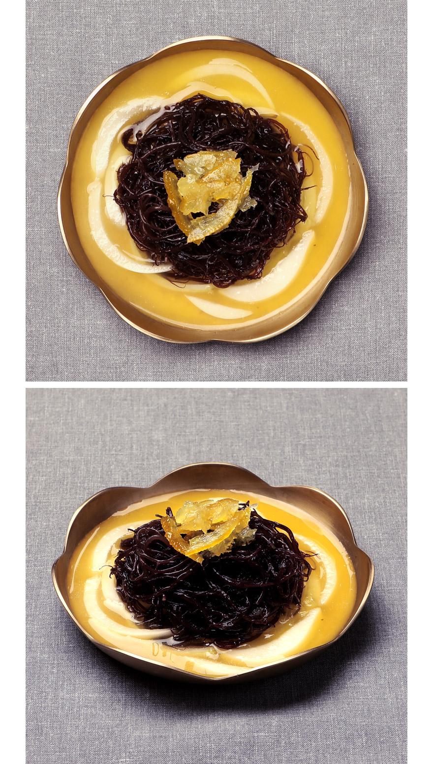 유자꼬시래기무침 입 안 가득 유자 향이 퍼지는 유자꼬시래기는 맛은 물론, 향에 두 번 반하게 됩니다. 바다의 국수로 불리는 꼬시래기에 국내산 유자를 넣어 만들었어요. 식이섬유가 풍부해 미세먼지를 배출하는 효능도 탁월하며, 칼로리가 낮아 다이어트 반찬으로도 딱입니다. 밑반찬은 물론, 샐러드로도 먹기에 좋아요.   </div>